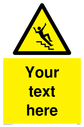 Custom Slippery Stairs Sign. Add your own custom text. Normal delivery times apply. Yellow Slippery Stairs Symbol. This symbol and sign layout complies with new EN7010 legislation that governs safety signs. Text: Your text here - just add to your order and fill in the 'special instructions' box at the basket to confirm your required text.