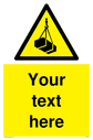 Custom Overhead Load Sign. Add your own custom text. Normal delivery times apply. Yellow Overhead Load Symbol. This symbol and sign layout complies with new EN7010 legislation that governs safety signs. Text: Your text here - just add to your order and fill in the 'special instructions' box at the basket to confirm your required text.