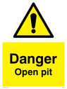 general warning symbol in warning triangle Text: Danger Open pit