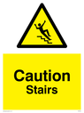Slippery stairs warning symbol in warning triangle Text: Caution Stairs