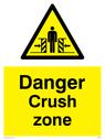crushing hazard symbol in warning triangle Text: danger crush zone