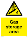 gas cylinder in warning triangle Text: Gas storage area