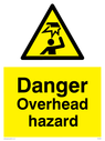 Overhead obstacle symbol in warning triangle Text: Danger Overhead Hazard