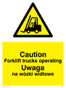 Forklift symbol in warning triangle Text: Caution Forklift trucks operating Uwaga na wozki widlowe
