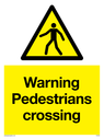 pedestrian warning symbol in warning triangle Text: Warning Pedestrians crossing