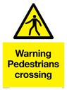 pedestrian warning symbol in warning triangle Text: Warning Pedestrians crossing