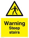 General warning symbol in warning triangle Text: Warning Steep stairs