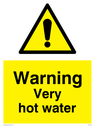 General warning symbol in warning triangle Text: Warning Very hot water
