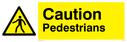 Pedestrian symbol in warning triangle Text: Caution Pedestrians