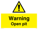 <p>General warning symbol</p> Text: Warning Open pit