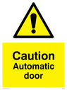 <p>Caution Automatic door withgeneral warning symbol in warning triangle</p> Text: Caution Automatic door