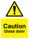 General warning symbol in warning triangle Text: Caution Glass door