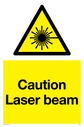 laser beam in warning triangle Text: Caution Laser beam