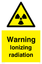 radiation symbol in warning triangle Text: Warning Ionizing radiation