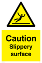 slippery surface warning symbol in warning triangle Text: Caution Slippery surface