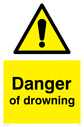 general warning symbol in warning triangle Text: Danger of drowning