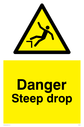 Drop warning symbol in warning triangle Text: Danger Steep drop