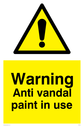 general warning symbol in warning triangle Text: Warning Anti vandal paint in use