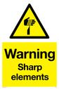 sharp element warning symbol in warning triangle Text: Warning Sharp elements