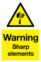 sharp element warning symbol in warning triangle Text: Warning Sharp elements