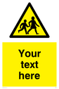 <p>Custom Warning children Sign. Add your own custom text. Normal delivery times apply.</p> Text: Your text here - just add to your order and fill in the 'special instructions' box at the basket to confirm your required text.