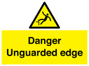 <p>Danger Unguarded edge with drop / fall symbol</p> Text: Danger Unguarded edge