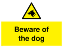 <p>Beware of the dog with dog warning symbol</p> Text: Beware of the dog