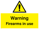 <p>Warning Firearms in use</p> Text: Warning Firearms in use
