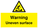 <p>Warning Uneven surface</p> Text: Warning Uneven surface
