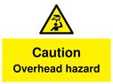 <p>Caution Overhead hazard with symbol</p> Text: Caution Overhead hazard