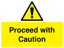 <p>Proceed with Caution warning with exclamation in warning triangle</p> Text: Proceed with Caution