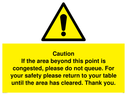 <p>Caution if area beyond this point is congested, please do not queue</p> Text: