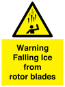 <p>Warning Falling Ice from rotor blades</p> Text: