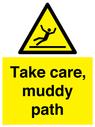 <p>Take care, muddy path</p> Text: