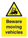 <p>Beware moving vehicles</p> Text: