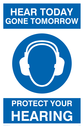 <p>Protect your hearing sign </p> Text: All those in favour of safety glasses, say 'eye'.