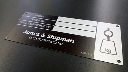 Aluminium Machine labels with dye sublimiation print