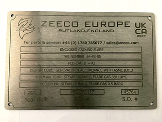 Marine Grade Stainless Steel laser etched UKCA labels