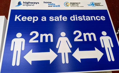 Covid Safe distancing measures with highways england logo