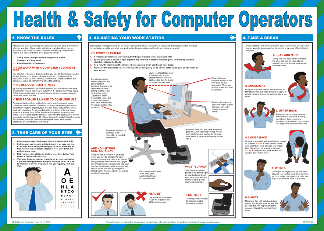 Health Amp Safety Computer Ops Poster From Safety Sign Supplies